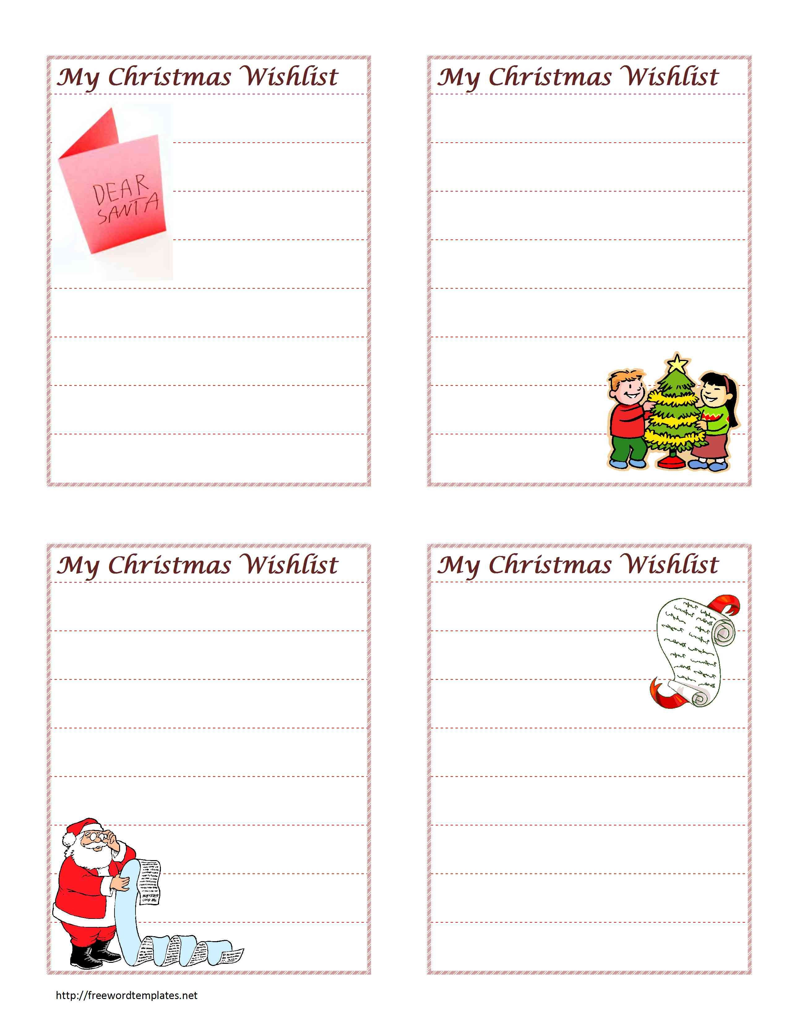 Christmas Wish List Template Christmas Wish List