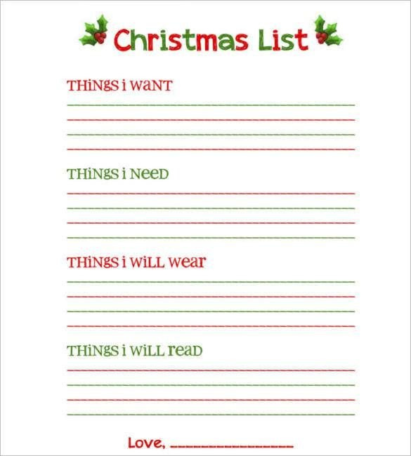 Christmas Wish List Template Download Blank Christmas List Free Printable 24