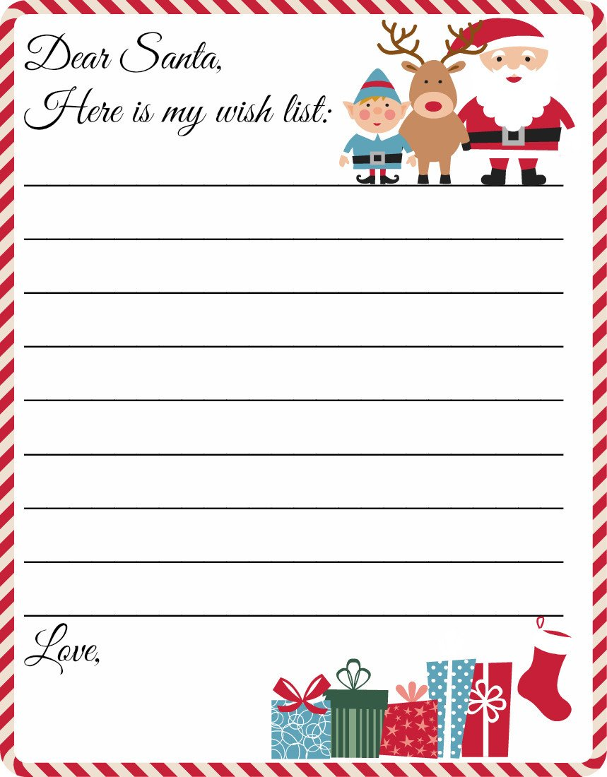 Christmas Wish List Template Free Printable Letter to Santa Template Cute Christmas
