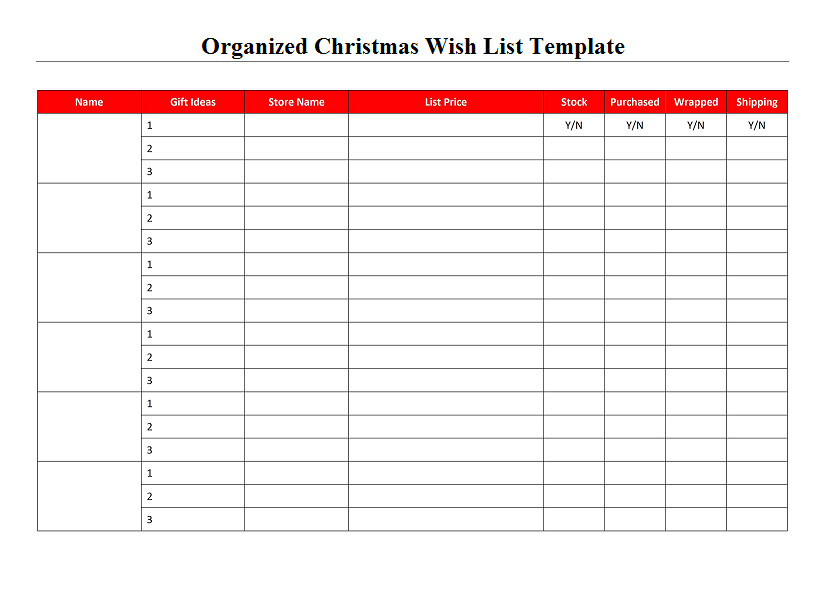 Christmas Wish List Template organized Christmas Wish List Template Project
