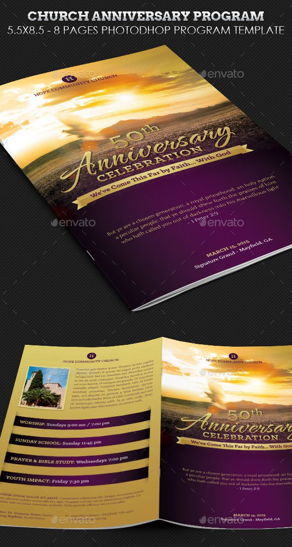 Church Anniversary Program Template 30 Eye Catching Psd & Indesign Brochure Templates