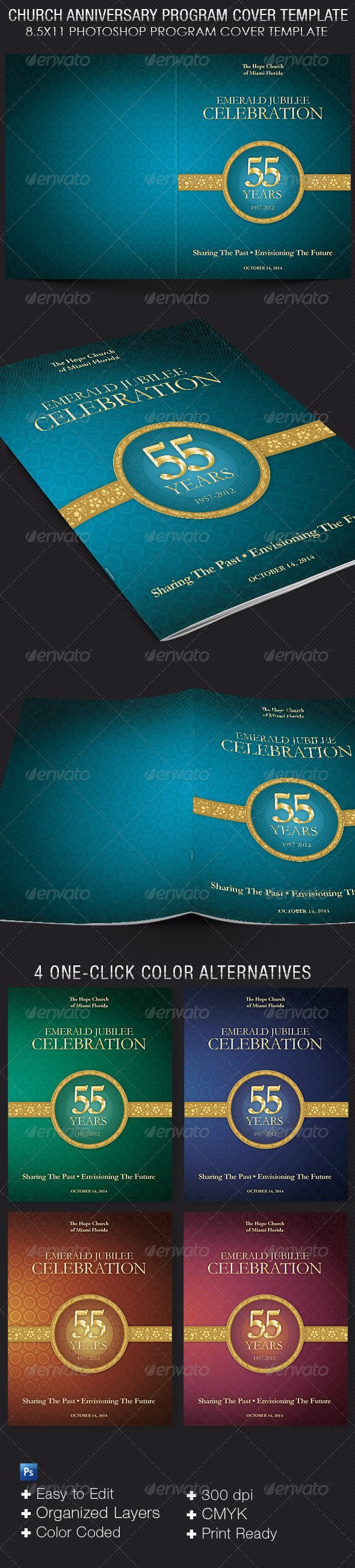 Church Anniversary Program Template Church Anniversary Program Cover Template by 4cgraphic