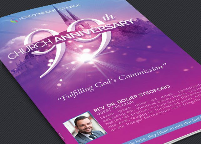 Church Anniversary Program Template Church Celebration Program Template On Behance