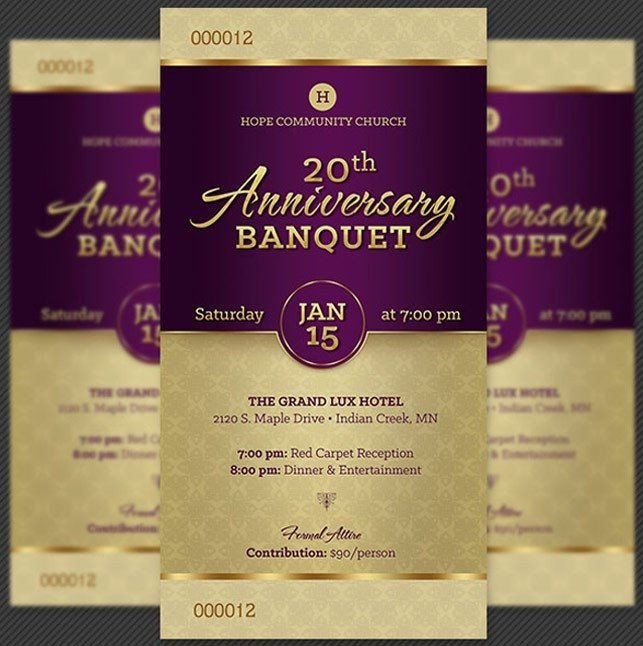 Church Anniversary Program Templates Free Church Anniversary Banquet Ticket Template