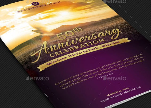 Church Anniversary Program Templates Free Church Anniversary Program Booklet Template Templates