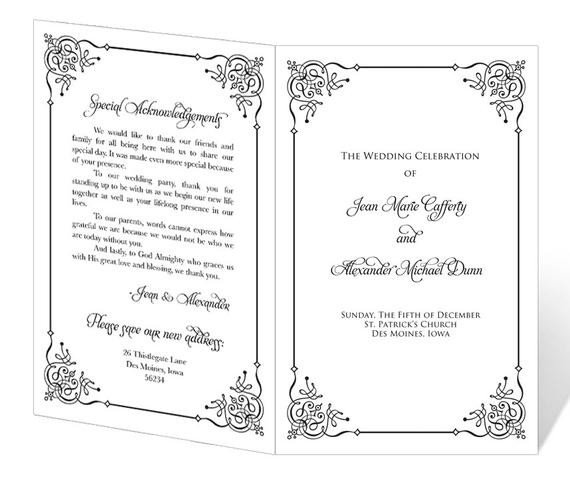 Church Anniversary Program Templates Free Wedding Program Template Printable Instant Download