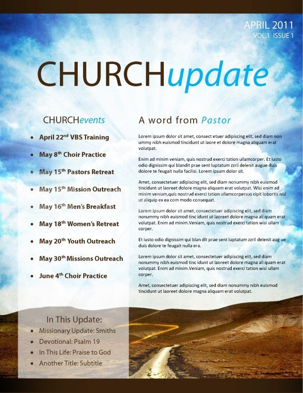 Church Bulletin Templates Microsoft Publisher Pathway Church Newsletter Template Template