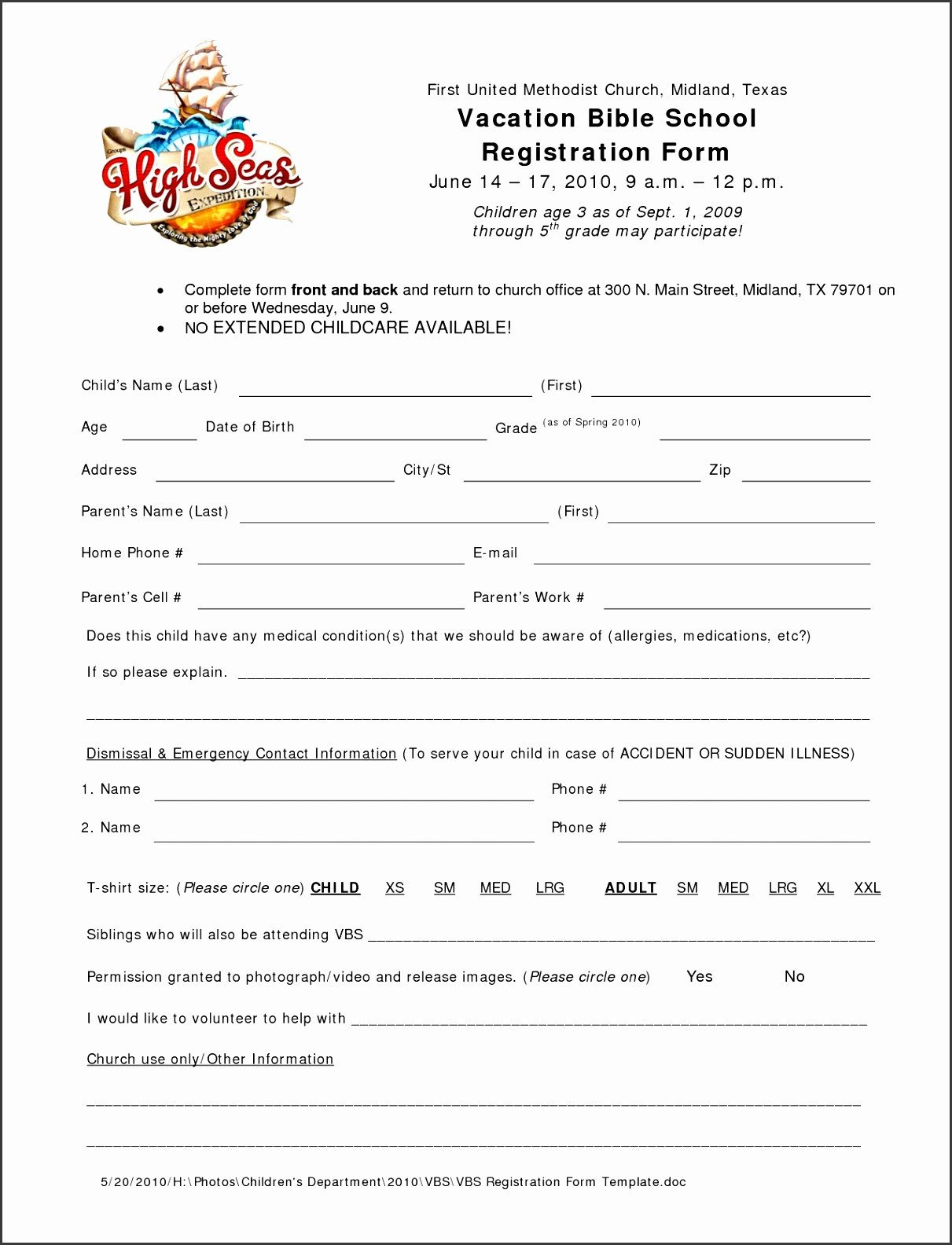 Church Camp Registration form Template 10 Church Camp Registration form Template