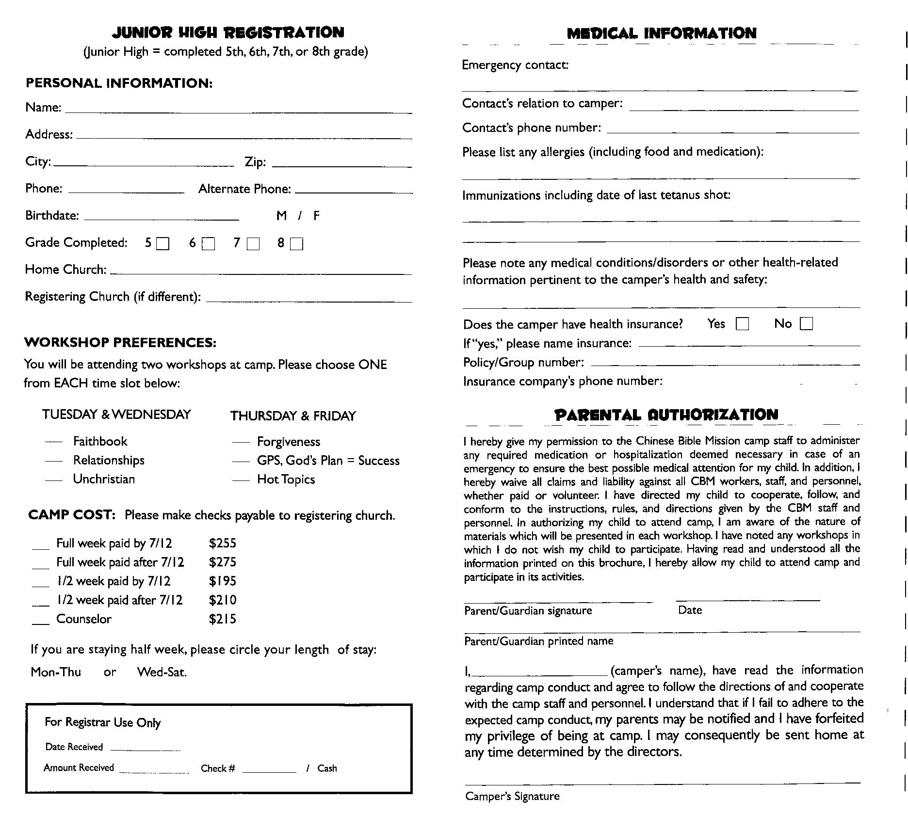 Church Camp Registration form Template 6 Best S Of Youth Church Registration form Youth