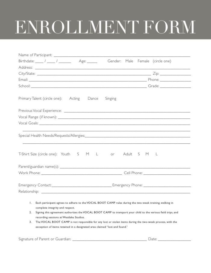 Church Camp Registration form Template Church Camp Registration form Template Templates