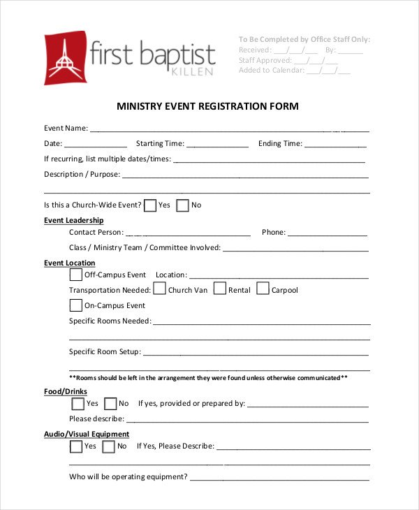 Church Camp Registration form Template Church Conference Registration form Template Templates