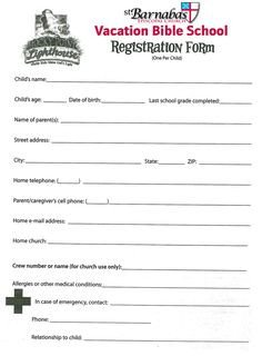 Church Camp Registration form Template Printable Vbs Registration form Template