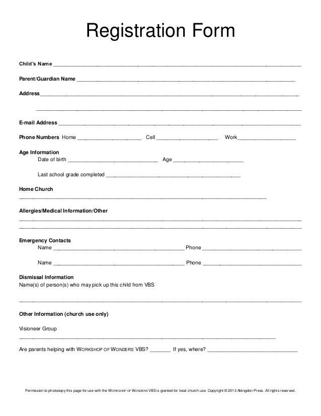 Church Camp Registration form Template Registration form Child's Name