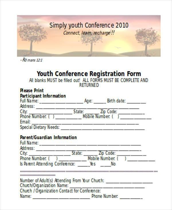 Church Camp Registration form Template Registration form Templates