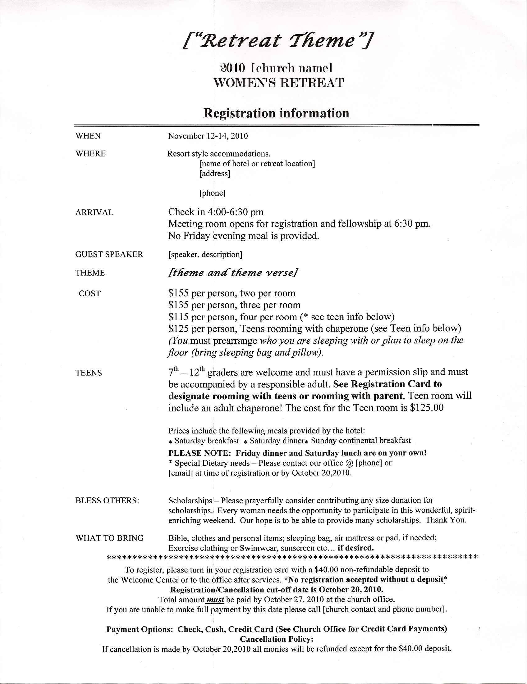 Church Camp Registration form Template Retreat Information Sheet Sample Retreats