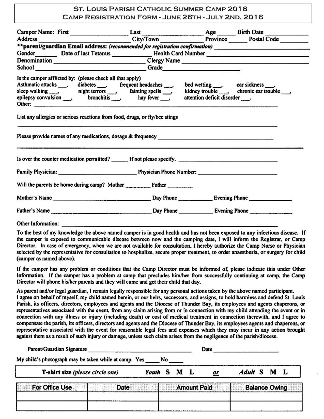 Church Camp Registration form Template St Louis Summer Camp Registration form – Saint Louis Church
