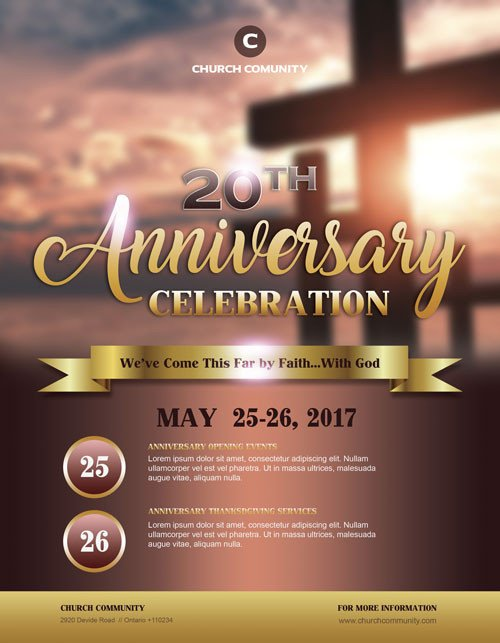 Church Flyers Templates Free Download Anniversary Celebration Free Church Flyer Template
