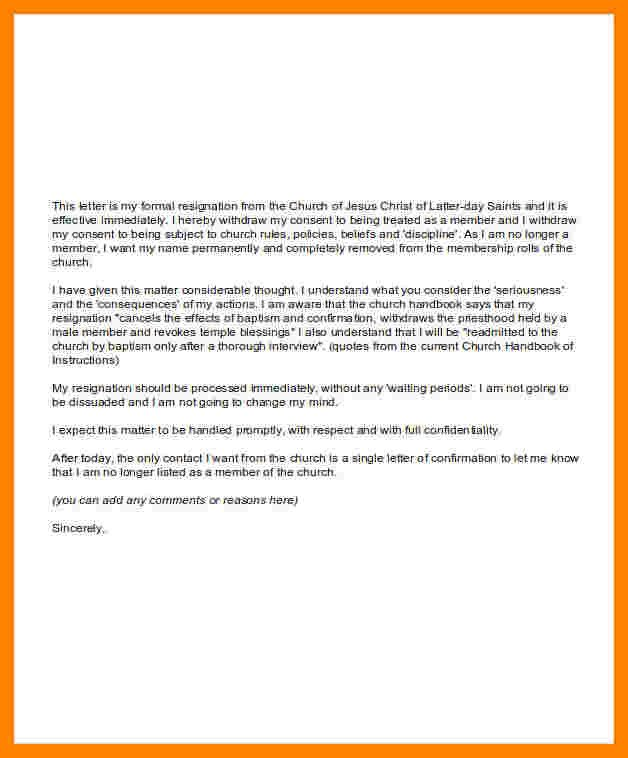 Church Membership Resignation Letter 8 Church Resignation Letter for Members