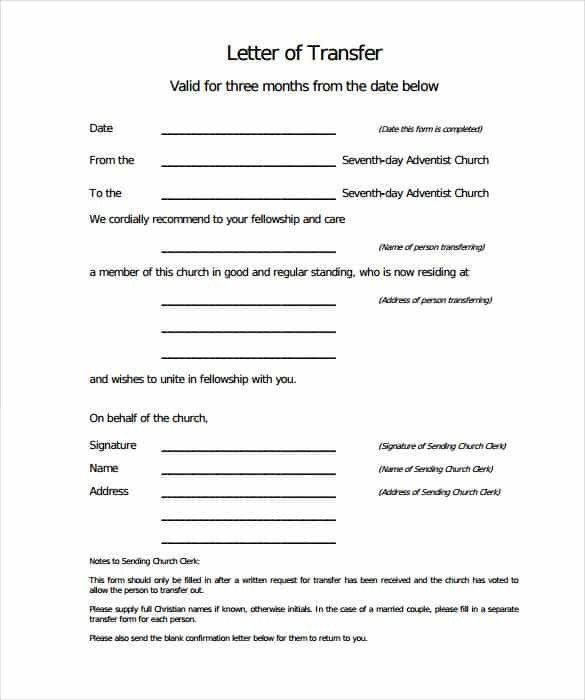 Church Membership Transfer Letter 44 Transfer Letter Templates Pdf Google Doc Excel
