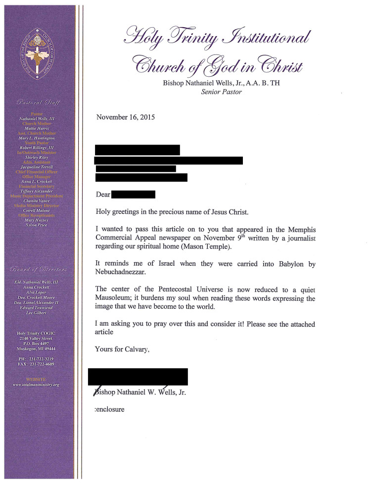 Church Membership Transfer Letter C O G I C