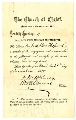"Church Membership Transfer Letter ""josephus Hopwood the Church Of Christ Membership Transfer"""