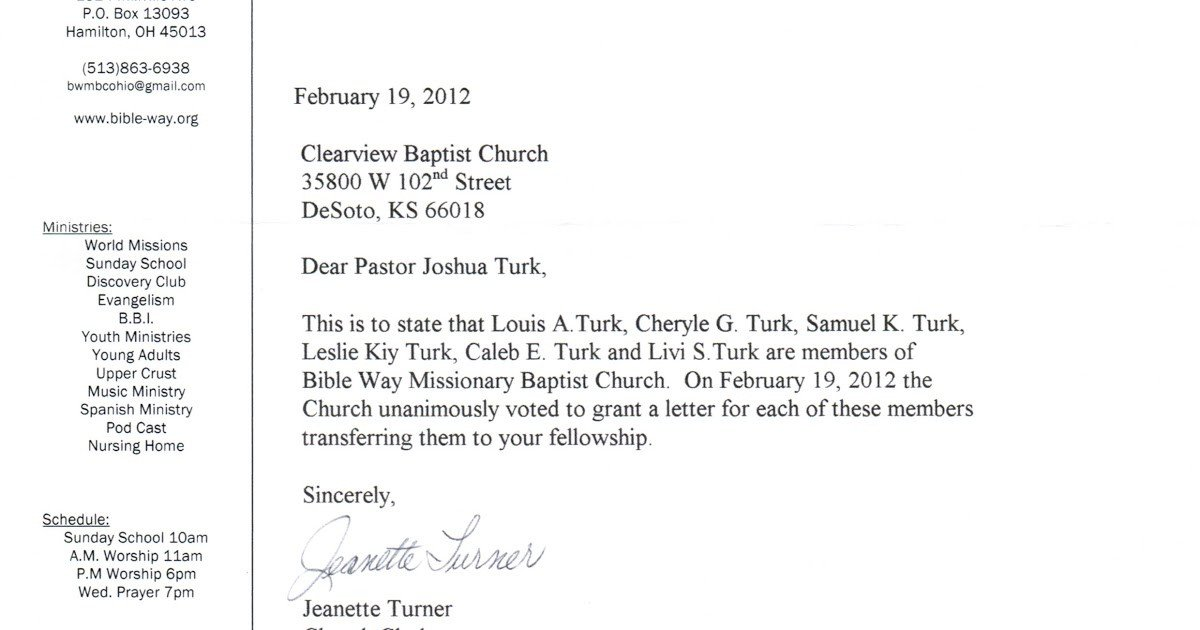 Church Membership Transfer Letter Sample Letter Changing Church Membership