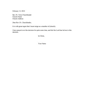 Church Membership withdrawal Letter Church Member Resignation Letter