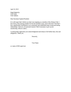 Church Membership withdrawal Letter Club Membership Resignation Letter