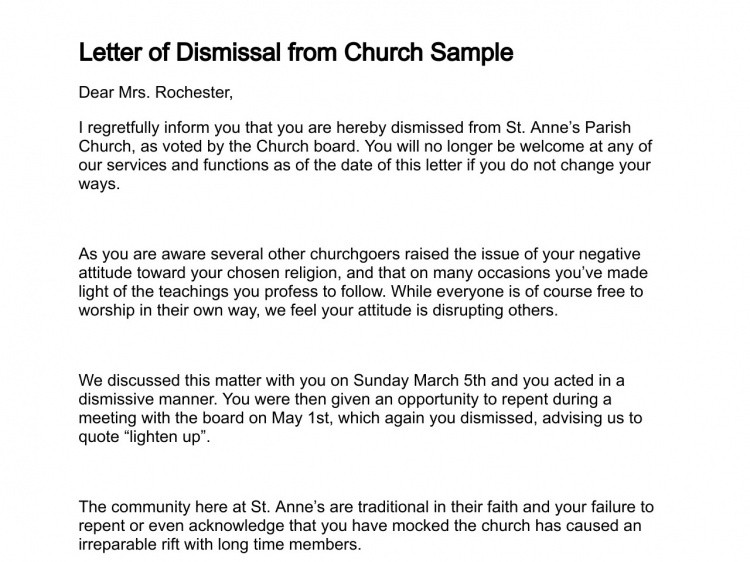 Church Membership withdrawal Letter Letter Of Dismissal
