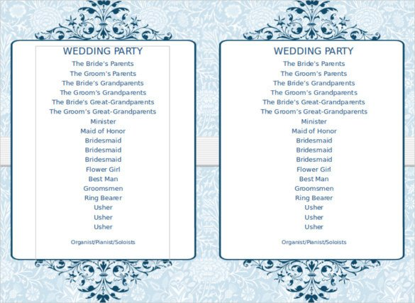 Church Program Template Free 8 Word Wedding Program Templates Free Download