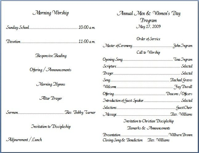Church Program Template Free Church Bulletin Templates