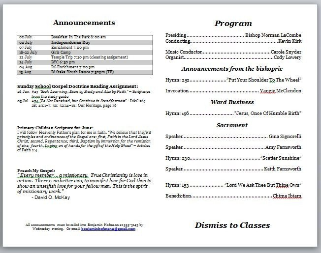 Church Program Template Free Church Program Template