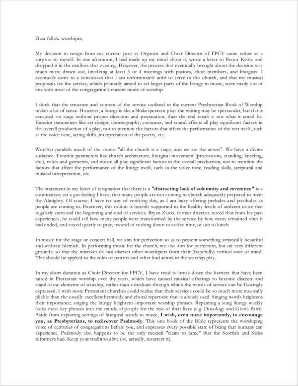 Church Resignation Letter Sample 10 Church Resignation Letter Samples and Templates Pdf
