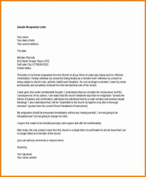 Church Resignation Letter Sample 5 Church Resignation Letter