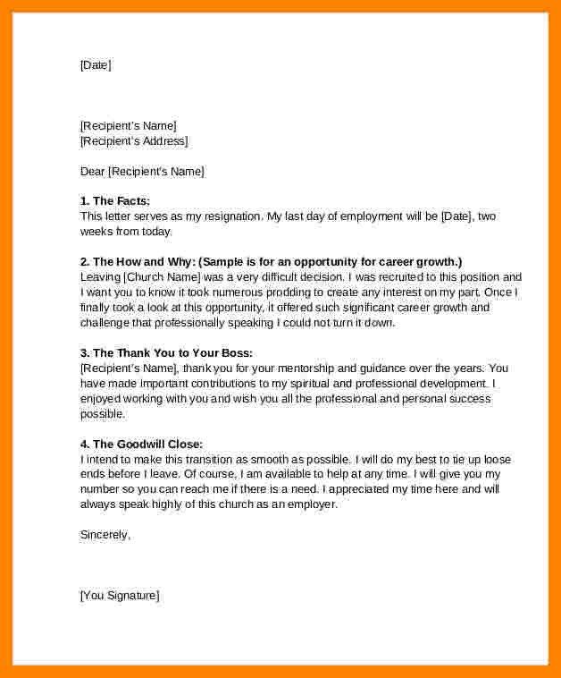 Church Resignation Letter Sample 6 Church Resignation Letter Sample