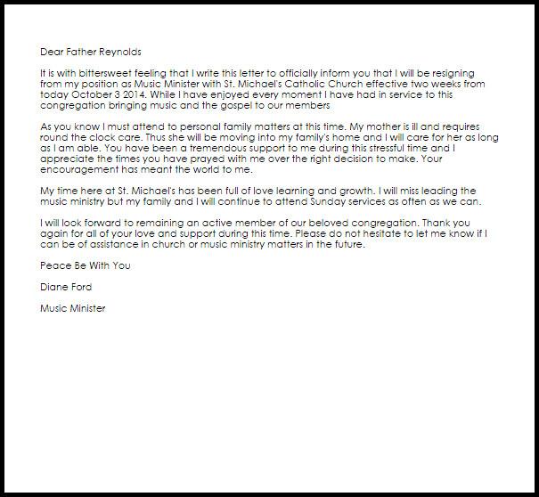 Church Resignation Letter Sample Church Resignation Letter Example