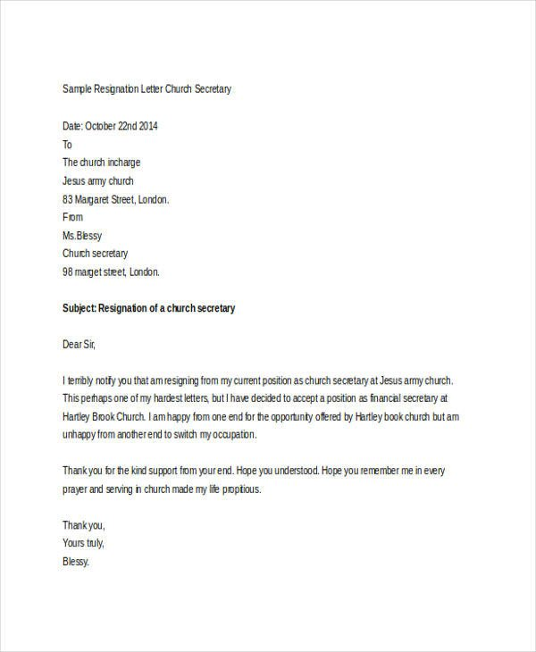 Church Resignation Letter Sample Church Resignation Letter Template 9 Free Word Pdf
