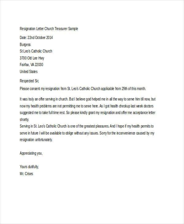 Church Resignation Letter Sample Church Resignation Letter Template 9 Free Word Pdf