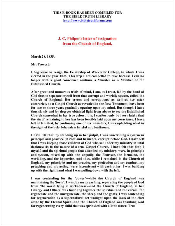 Church Resignation Letter Sample Free 10 Church Resignation Letter Samples and Templates
