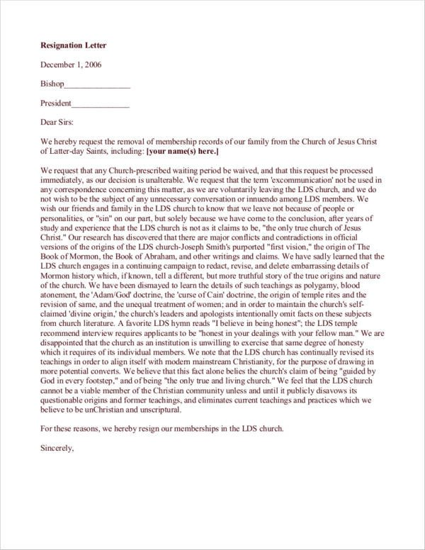 Church Resignation Letter Sample Free 10 Church Resignation Letter Samples and Templates