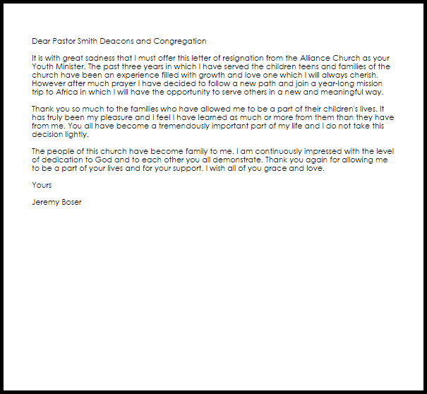 Church Resignation Letter Sample Youth Ministry Resignation Letter Example