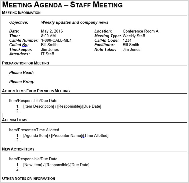 Church Staff Meeting Agenda Template 15 Best Meeting Agenda Templates for Word