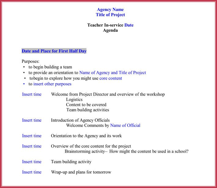 Church Staff Meeting Agenda Template 7 Staff Meeting Agenda Templates Samples In Word & Pdf