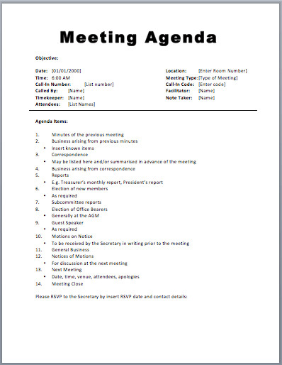 Church Staff Meeting Agenda Template Basic Meeting Agenda Template