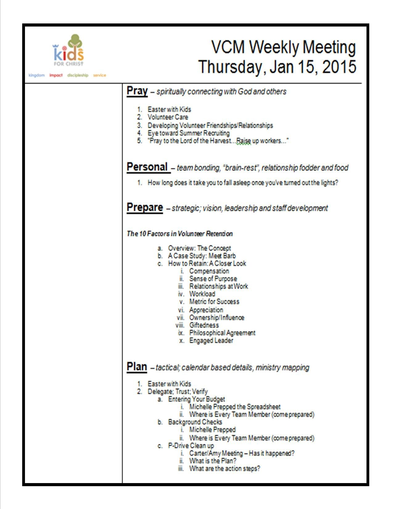 Church Staff Meeting Agenda Template How to Create A Meeting Agenda Kidminscience