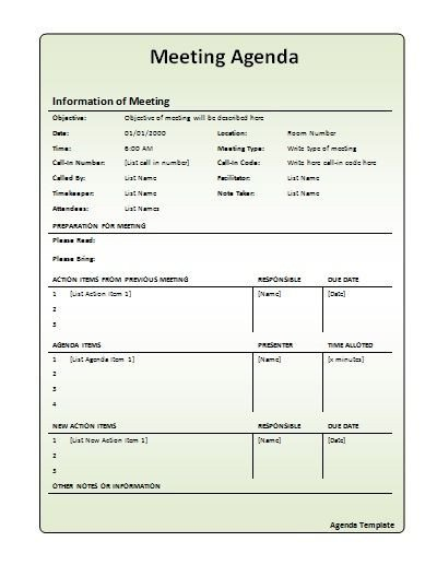 Church Staff Meeting Agenda Template Meeting Agenda Template Work