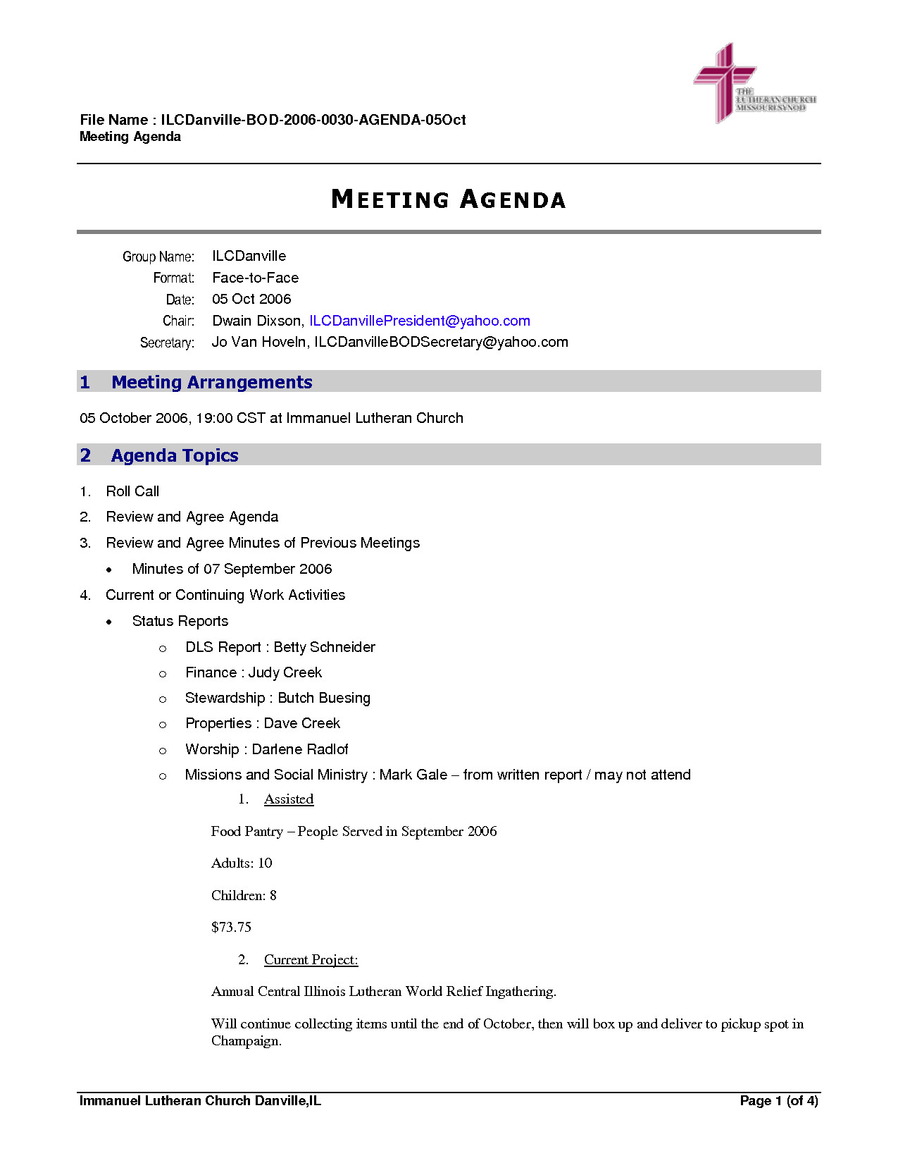 Church Staff Meeting Agenda Template Ministry Meeting Agenda Template