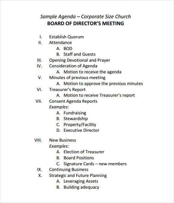Church Staff Meeting Agenda Template Sample Board Meeting Agenda Template 11 Free Documents