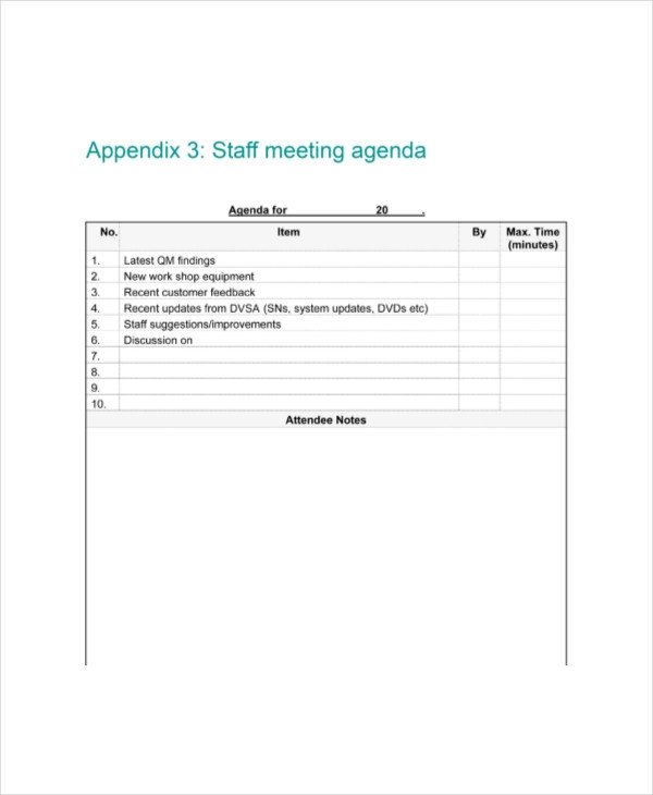 Church Staff Meeting Agenda Template Staff Meeting Agenda Template – 10 Free Word Pdf