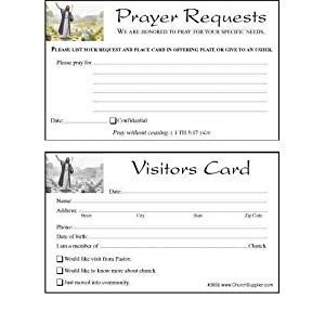 Church Visitor Card Template Word Amazon Church Visitor S Card and Prayer Request